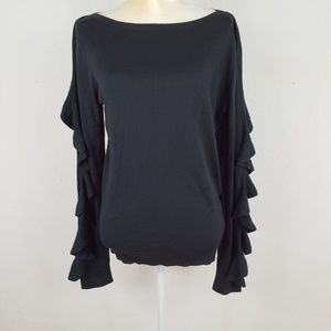 Ralph Lauren Black Ruffled Long Sleeve Blouse L